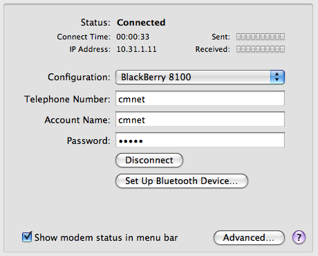 Use BlackBerry8100 as Bluetooth Modem