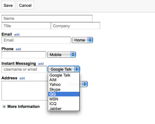 QQ in Gmail Contact